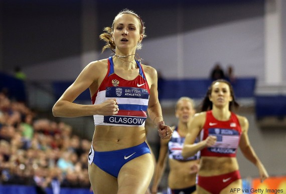 Ekaterina Poistogova of Russia wins the Women's 800m during The British Athletics Glasgow International Match at The Emirates Arena in Glasgow, Scotland, on January 26, 2013 . AFP PHOTO / IAN MACNICOL        (Photo credit should read Ian MacNicol/AFP/Getty Images)