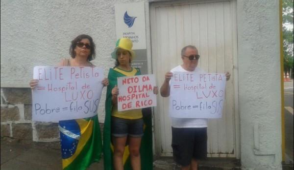 Revoltados online fazem protesto em maternidade onde nasceu neto de Dilma