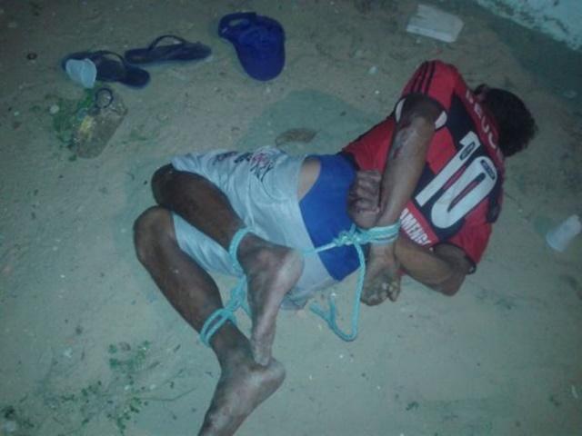 Manequim é amarrado e preso por ameaça no bairro Coqueiro em Luís Correia
