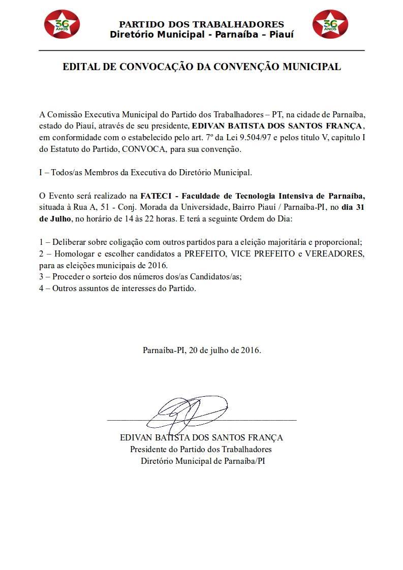 PT de Parnaíba realizará convenção municipal para as eleições, dia 31 de julho