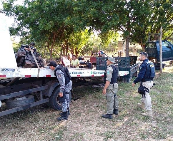 PM flagra desmanche de carro roubado em Buriti dos Lopes