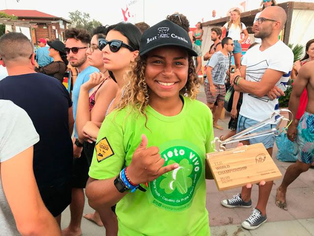 Piauiense de Barra Grande, Bia Silva, fica em terceiro lugar no Mundial de Kite na Itália
