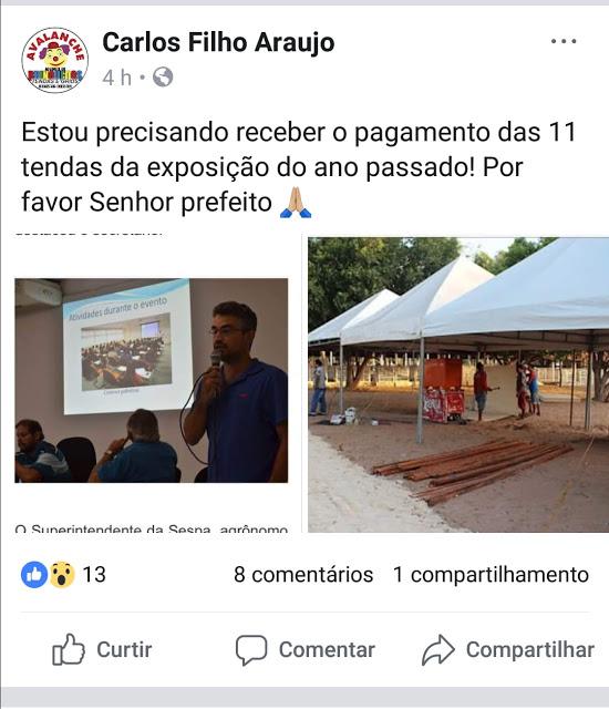 Internauta faz cobrança ao Prefeito Mão Santa, que até hoje não pagou as tendas da Expoapa de 2017