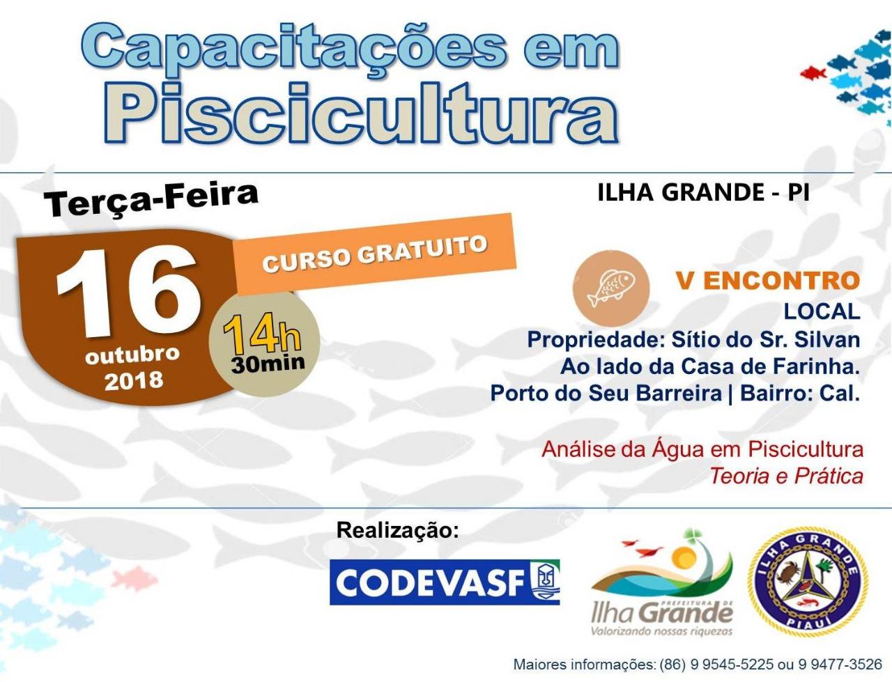 Codevasf realizará a 5º Capacitação em Piscicultura no município de Ilha Grande