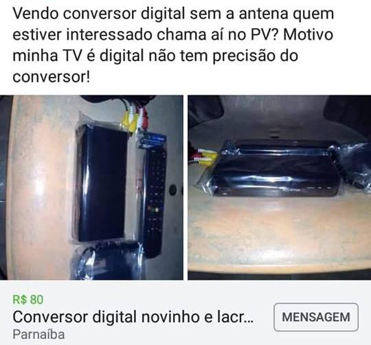 Kits de TV Digital distribuídos gratuitamente em Parnaíba são vendidos pelo Facebook