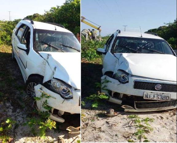 Condutora perde a direção de veículo e colide frontalmente contra poste no litoral do Piauí