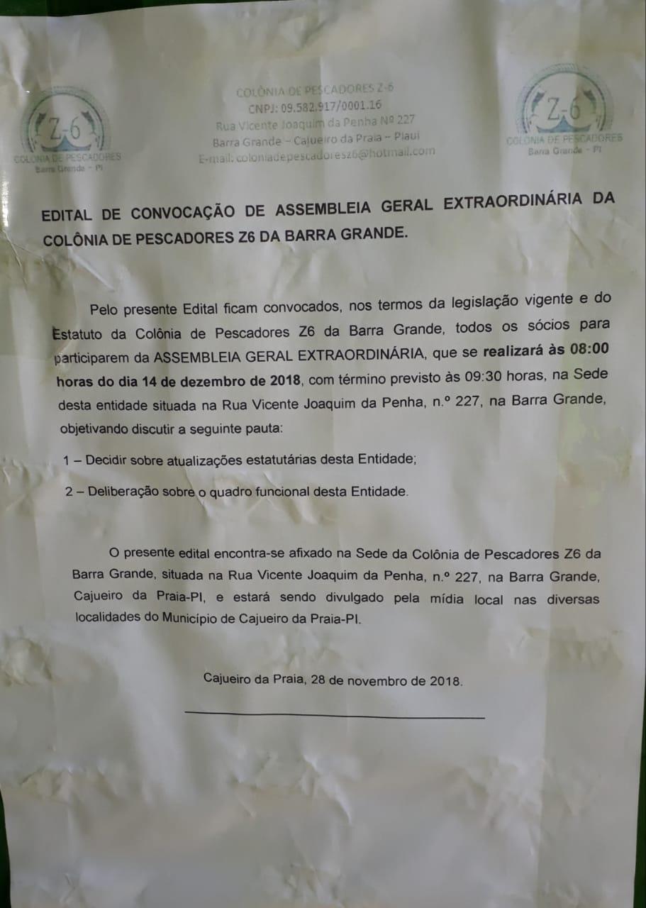 ATENÇÃO SÓCIOS DA COLÔNIA DE PESCADORES Z-6 DE CAJUEIRO DA PRAIA:  Aviso de Assembléia para modificar estatuto e sobre funcionários da colônia