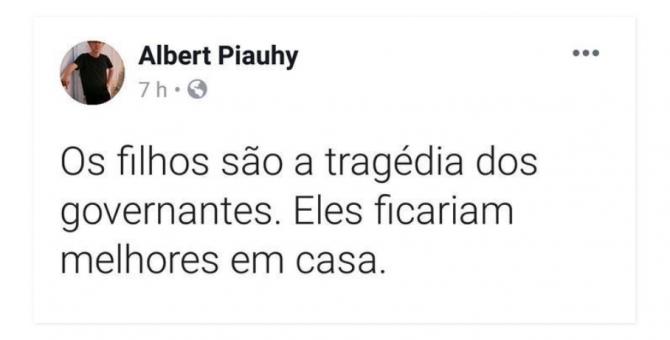 Secretário do prefeito Mão Santa faz crítica em rede social e pode virar o 9 a cair