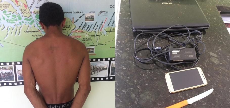 Homem é preso em flagrante furtando residência em Luís Correia