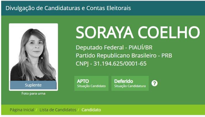 Candidata do PRB no Piauí recebeu R$ 446 mil e só teve 319 votos