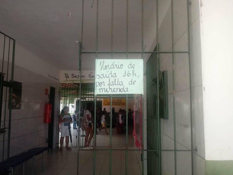 Sem merenda, escola da prefeitura libera alunos do turno integral mais cedo em Parnaíba