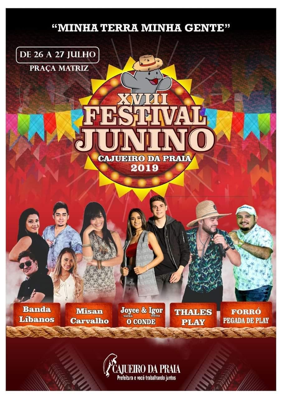 Prefeitura de Cajueiro da Praia realiza o XVIII Festival Junino neste Final de Semana