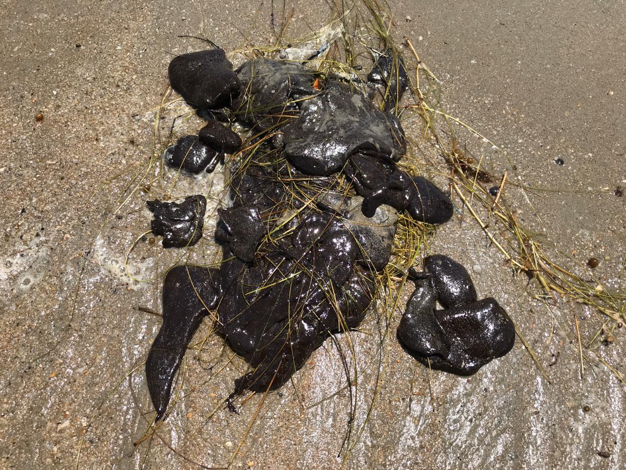 Manchas de petróleo atingem a Praia do Arrombado em Luís Correia