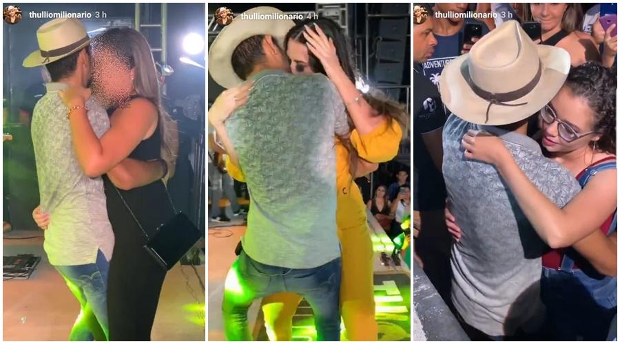 Cantor Thullio Milionário beija três mulheres durante show no Piauí