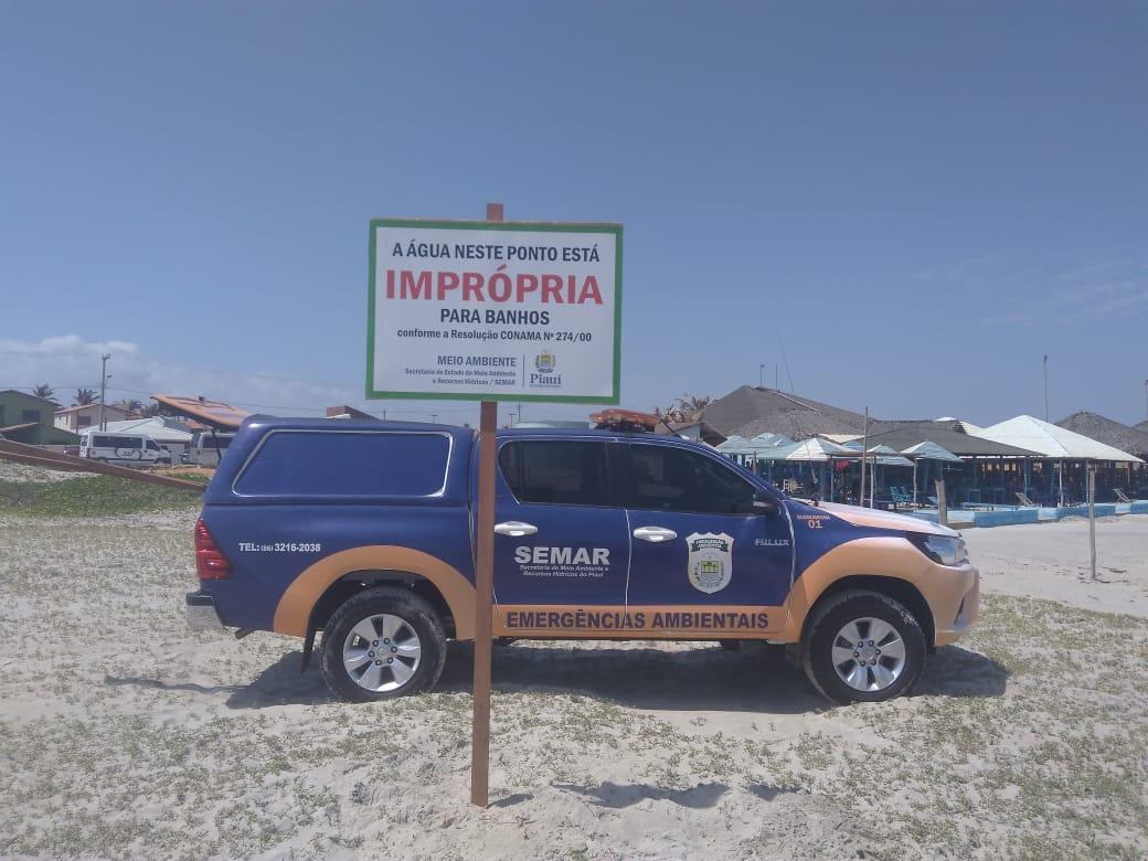 Praia de Atalaia, em Luís Correia segue imprópria para banho, alerta SEMAR
