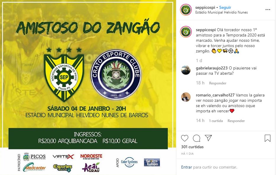 Parnahyba e Picos definem jogos amistosos visando o Piauiense 2020